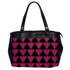 Triangle2 Black Marble & Pink Denim Office Handbags