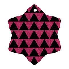 Triangle2 Black Marble & Pink Denim Snowflake Ornament (two Sides) by trendistuff