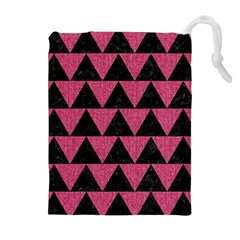 Triangle2 Black Marble & Pink Denim Drawstring Pouches (extra Large) by trendistuff