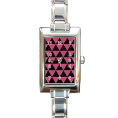 Triangle3 Black Marble & Pink Denim Rectangle Italian Charm Watch by trendistuff