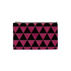 Triangle3 Black Marble & Pink Denim Cosmetic Bag (small)  by trendistuff