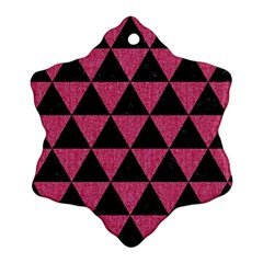 Triangle3 Black Marble & Pink Denim Snowflake Ornament (two Sides) by trendistuff