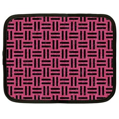 Woven1 Black Marble & Pink Denim Netbook Case (xxl)  by trendistuff