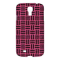 Woven1 Black Marble & Pink Denim Samsung Galaxy S4 I9500/i9505 Hardshell Case by trendistuff