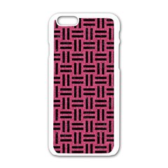 Woven1 Black Marble & Pink Denim Apple Iphone 6/6s White Enamel Case by trendistuff