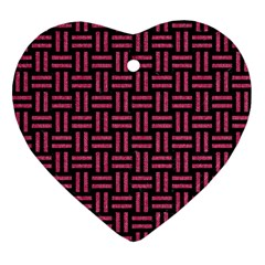 Woven1 Black Marble & Pink Denim (r) Ornament (heart) by trendistuff