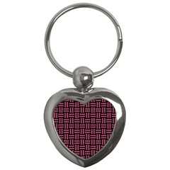 Woven1 Black Marble & Pink Denim (r) Key Chains (heart)  by trendistuff