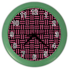 Woven1 Black Marble & Pink Denim (r) Color Wall Clocks by trendistuff