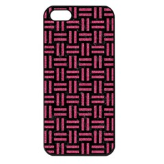 Woven1 Black Marble & Pink Denim (r) Apple Iphone 5 Seamless Case (black) by trendistuff