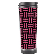 Woven1 Black Marble & Pink Denim (r) Travel Tumbler by trendistuff