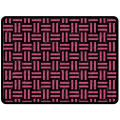 Woven1 Black Marble & Pink Denim (r) Double Sided Fleece Blanket (large)  by trendistuff