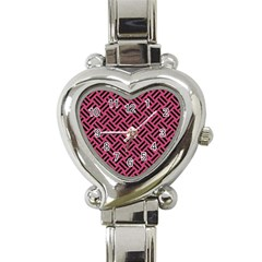 Woven2 Black Marble & Pink Denim Heart Italian Charm Watch by trendistuff
