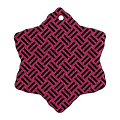 Woven2 Black Marble & Pink Denim Snowflake Ornament (two Sides) by trendistuff