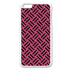 Woven2 Black Marble & Pink Denim Apple Iphone 6 Plus/6s Plus Enamel White Case by trendistuff