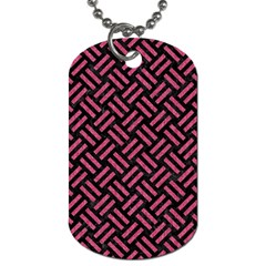 Woven2 Black Marble & Pink Denim (r) Dog Tag (two Sides) by trendistuff