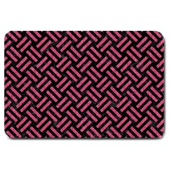 Woven2 Black Marble & Pink Denim (r) Large Doormat  by trendistuff