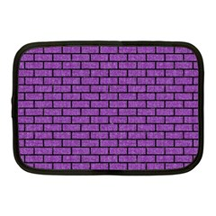 Brick1 Black Marble & Purple Denim Netbook Case (medium)  by trendistuff