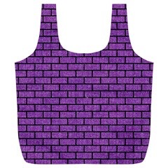 Brick1 Black Marble & Purple Denim Full Print Recycle Bags (l)