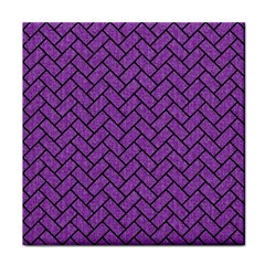 Brick2 Black Marble & Purple Denim Tile Coasters by trendistuff