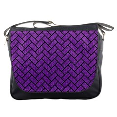 Brick2 Black Marble & Purple Denim Messenger Bags by trendistuff