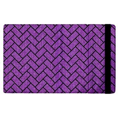 Brick2 Black Marble & Purple Denim Apple Ipad 2 Flip Case by trendistuff