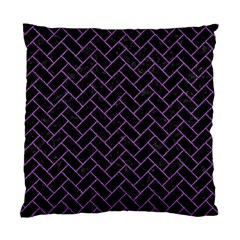 Brick2 Black Marble & Purple Denim (r) Standard Cushion Case (two Sides) by trendistuff