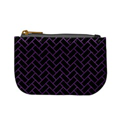Brick2 Black Marble & Purple Denim (r) Mini Coin Purses by trendistuff