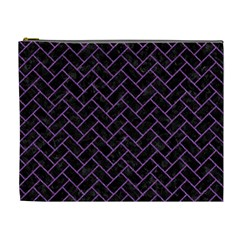 Brick2 Black Marble & Purple Denim (r) Cosmetic Bag (xl) by trendistuff