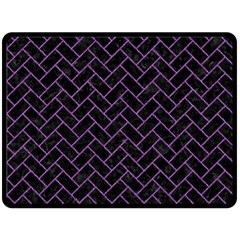 Brick2 Black Marble & Purple Denim (r) Double Sided Fleece Blanket (large)