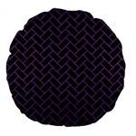 BRICK2 BLACK MARBLE & PURPLE DENIM (R) Large 18  Premium Flano Round Cushions Front