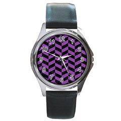 Chevron1 Black Marble & Purple Denim Round Metal Watch by trendistuff