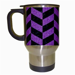 Chevron1 Black Marble & Purple Denim Travel Mugs (white) by trendistuff