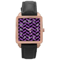 Chevron1 Black Marble & Purple Denim Rose Gold Leather Watch  by trendistuff