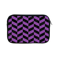Chevron1 Black Marble & Purple Denim Apple Ipad Mini Zipper Cases by trendistuff