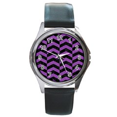 Chevron2 Black Marble & Purple Denim Round Metal Watch by trendistuff