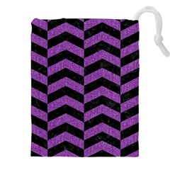 Chevron2 Black Marble & Purple Denim Drawstring Pouches (xxl) by trendistuff