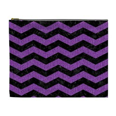 Chevron3 Black Marble & Purple Denim Cosmetic Bag (xl) by trendistuff