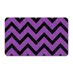 Chevron9 Black Marble & Purple Denim Magnet (rectangular) by trendistuff