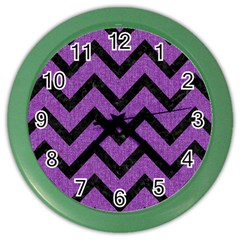Chevron9 Black Marble & Purple Denim Color Wall Clocks by trendistuff