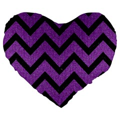 Chevron9 Black Marble & Purple Denim Large 19  Premium Heart Shape Cushions by trendistuff