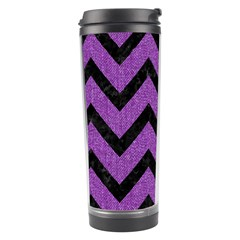 Chevron9 Black Marble & Purple Denim Travel Tumbler by trendistuff