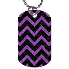 Chevron9 Black Marble & Purple Denim (r) Dog Tag (two Sides) by trendistuff