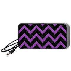 Chevron9 Black Marble & Purple Denim (r) Portable Speaker by trendistuff