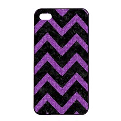 Chevron9 Black Marble & Purple Denim (r) Apple Iphone 4/4s Seamless Case (black) by trendistuff