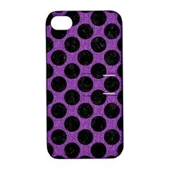 Circles2 Black Marble & Purple Denim Apple Iphone 4/4s Hardshell Case With Stand by trendistuff