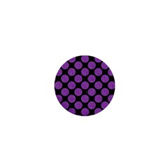 Circles2 Black Marble & Purple Denim (r) 1  Mini Buttons by trendistuff