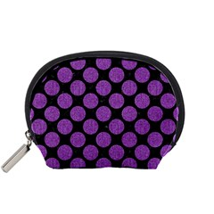 Circles2 Black Marble & Purple Denim (r) Accessory Pouches (small)  by trendistuff