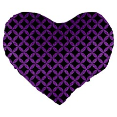 Circles3 Black Marble & Purple Denim (r) Large 19  Premium Heart Shape Cushions by trendistuff