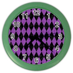 Diamond1 Black Marble & Purple Denim Color Wall Clocks by trendistuff