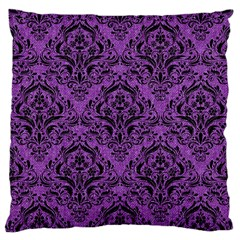 Damask1 Black Marble & Purple Denim Large Cushion Case (two Sides) by trendistuff